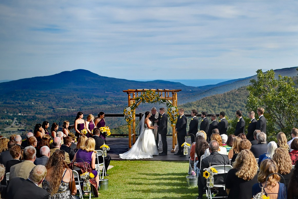 hunter mountain wedding ceremony with view
